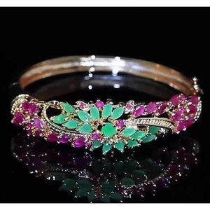 Jewelry - Diamond Bangle Jade Pink Sapphire 14 Carats Women